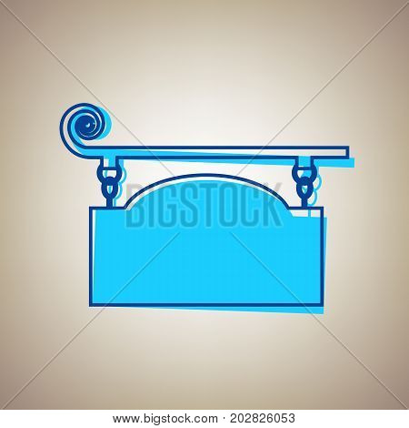 Wrought iron sign for old-fashioned design. Vector. Sky blue icon with defected blue contour on beige background.