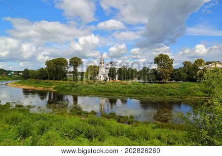 Landscape with a church on the river bank in the Vologda city, Russia