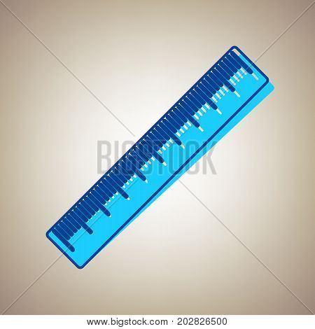Centimeter ruler sign. Vector. Sky blue icon with defected blue contour on beige background.