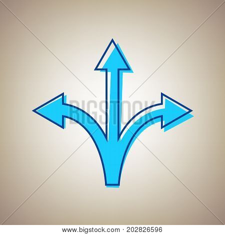 Three-way direction arrow sign. Vector. Sky blue icon with defected blue contour on beige background.