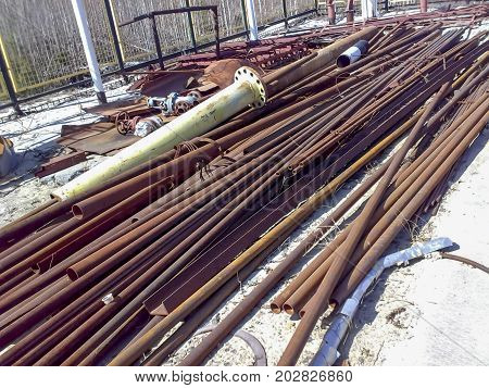 Warehouse Of Pipes, Profile And Angle. Metal Raw Materials.