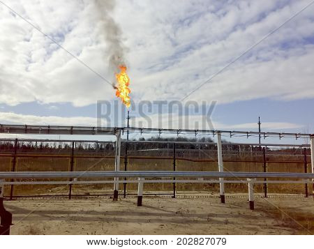 Burning Of Gas In Torches. Pressure Relief System. Oil Preparation And Pumping Workshop. The Central