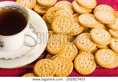 Homemade round sweet biscuit crackers, low-calorie food