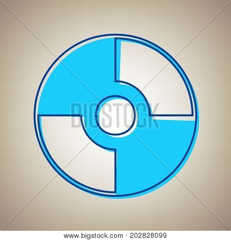 Vector CD or DVD sign. Vector. Sky blue icon with defected blue contour on beige background.