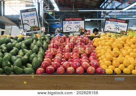 Melbourne, Australia - May 6, 2017: Fruit for sale in a grocery store at Prahran Market in Melbourne
