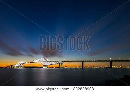 Tokyo landmark , Tokyo Gate Bridge in Tokyo Japan Night