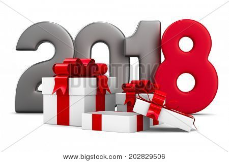 2018 new year. White gift boxes. Isolated 3D illustration