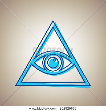 All seeing eye pyramid symbol. Freemason and spiritual. Vector. Sky blue icon with defected blue contour on beige background.