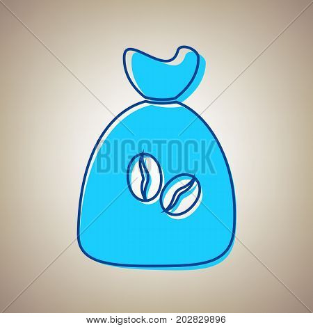 Coffee bag Icon. Coffee bag. Vector. Coffee bag Icon Button. Vector. Sky blue icon with defected blue contour on beige background.