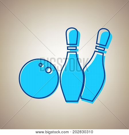 Bowling sign illustration. Vector. Sky blue icon with defected blue contour on beige background.
