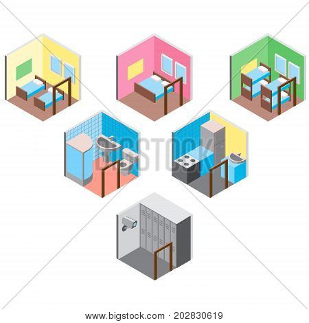 Vector design concept with isometric 3d hostel or hotel rooms illustration set