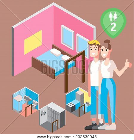 Vector design concept with isometric 3d hostel or hotel rooms illustration for couple