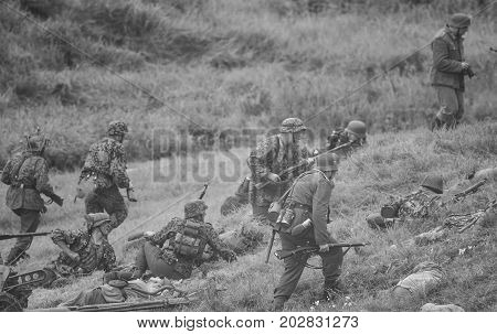 Military battle in action.The VIII International Festival of Military History and remake for the battle `1944` 6.08.2016 in Valga, Estonia