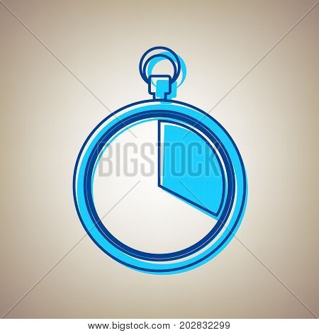 The 20 seconds, minutes stopwatch sign. Vector. Sky blue icon with defected blue contour on beige background.