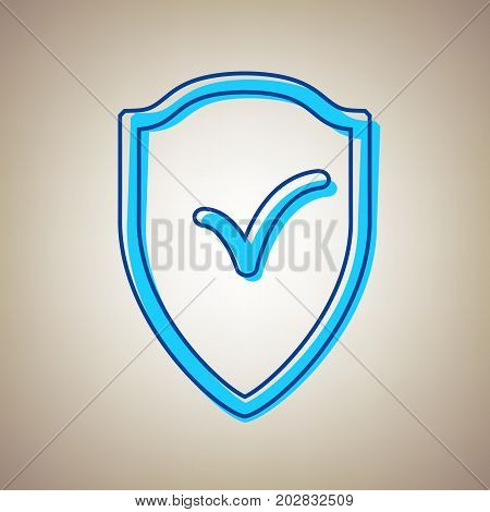 Shield sign as protection and insurance symbol. Vector. Sky blue icon with defected blue contour on beige background.