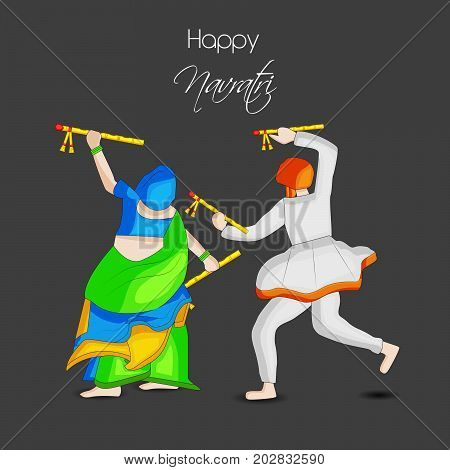 illustration of man and woman doing dandiya dance with Happy Navratri text on the occasion of hindu festival Navratri