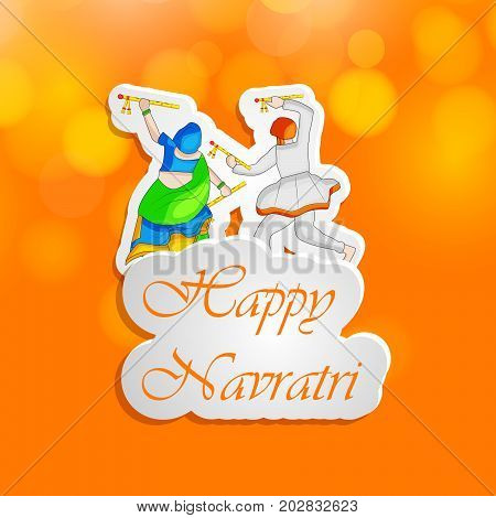 illustration of people doing dandiya dance with Happy Navratri text on the occasion of hindu festival Navratri