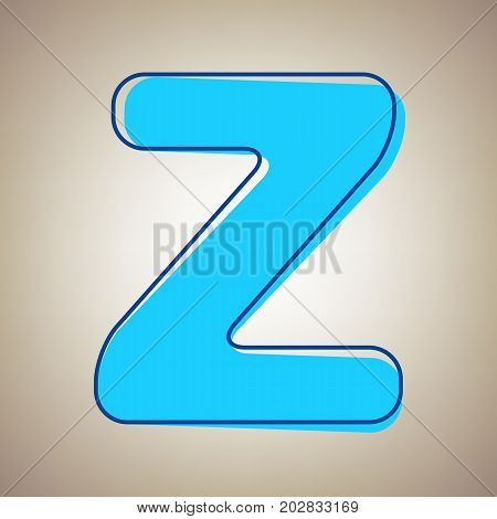 Letter Z sign design template element. Vector. Sky blue icon with defected blue contour on beige background.