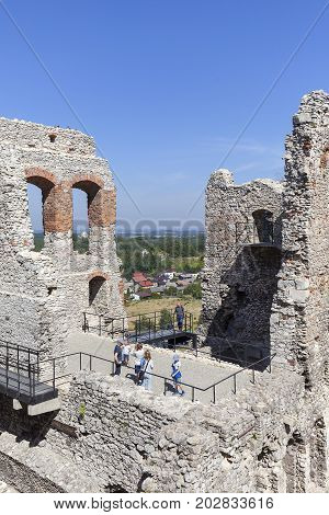 OGRODZIENIEC POLAND - AUGUST 31 2017: Ruins of medieval Ogrodzieniec Castle. The castle is situated on the 515.5 m high Castle Mountain built in the 14th century located on the Trail of the Eagles Nests