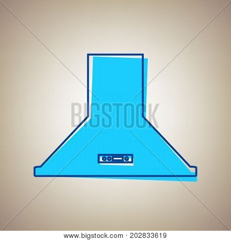 Exhaust hood. Kitchen ventilation sign. Vector. Sky blue icon with defected blue contour on beige background.