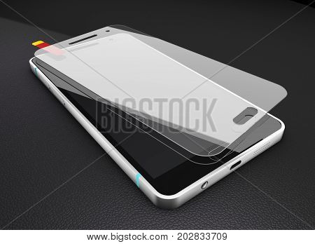3d Illustration of Protection glass screen and cellular phone