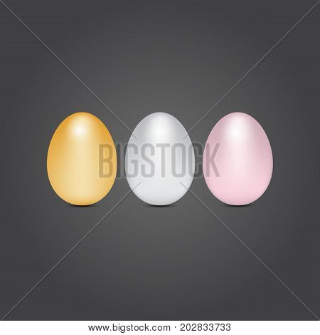 Gold silver and bronze eggs stock vector