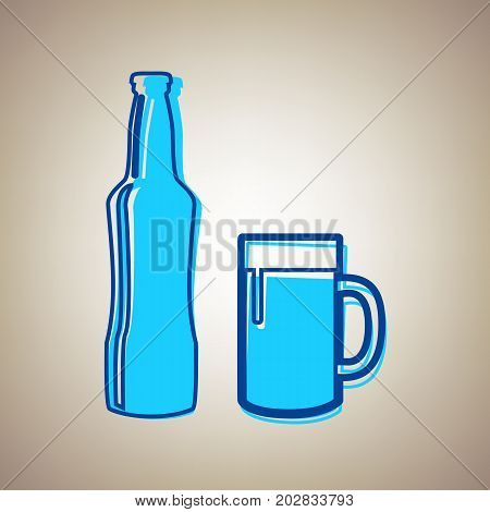 Beer bottle sign. Vector. Sky blue icon with defected blue contour on beige background.