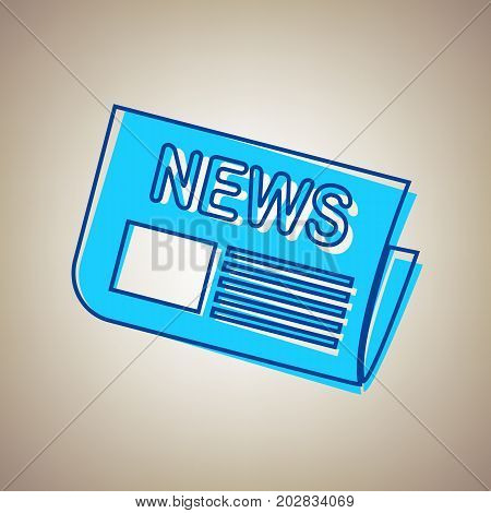 Newspaper sign. Vector. Sky blue icon with defected blue contour on beige background.