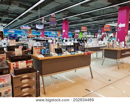 CHIANG RAI THAILAND - MARCH 1 : Department store interior view with computer zone at Central Plaza department store on March 1 2017 in Chiang rai Thailand
