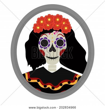 Dia de los muertos Calavera Katrina icon. Day of the dead with a dead girl. Isolated on white background. Vector illustration