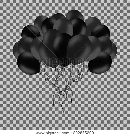 Bunch of black helium balloons isolated on transparent background. Party decorations for birthday anniversary black friday sale
