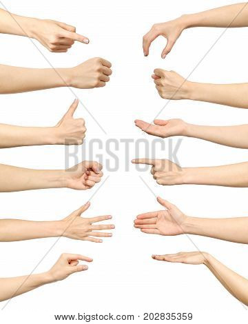 Female Hand Gestures And Signs Collection Isolated