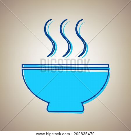 Soup sign. Vector. Sky blue icon with defected blue contour on beige background.