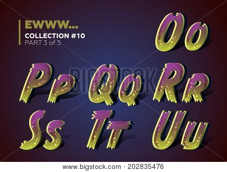 3D Spooky Typeset for Halloween Dead Man Party. 3D Font in Cartoon Style with Walking Dead Colors. Infected Colorful ABC Design for Horror Night Party. Isolated on Dark.