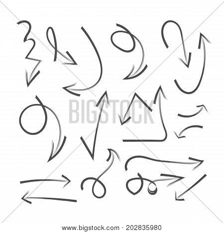 Set Of Hand Drawn Arrows, Circle And Squares For Highlighting Text. Marker Elements, Highlighter Ele