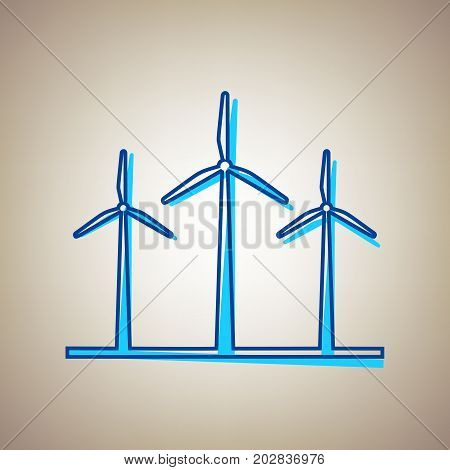 Wind turbines sign. Vector. Sky blue icon with defected blue contour on beige background.