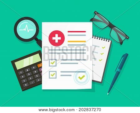 Medical research report vector illustration, flat cartoon health or medical record paper document with patient data or information on table, concept of medicine check list, approved good test analyze