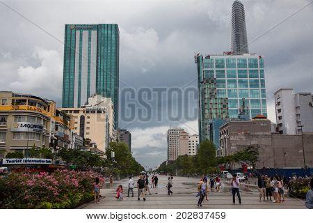 HO CHI MINH CITY (SAIGON), VIETNAM - JULY 2017 : skyscrapers business center in Ho Chi Minh City on Vietnam Saigon on background blue sky