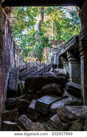Ruins Of Ancient Buddhist Khmer Temple Near