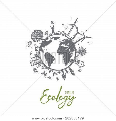 Ecology concept. Hand drawn sustainable ecological environment. Harmony living with nature isolated vector illustration.