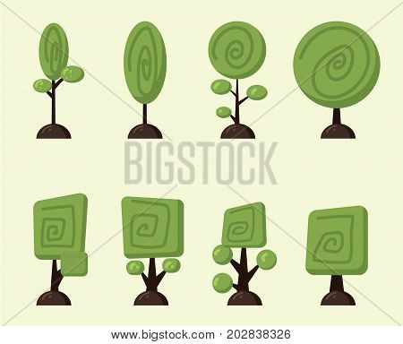 Cartoon vector trees set. Illustration of funny cartoon trees