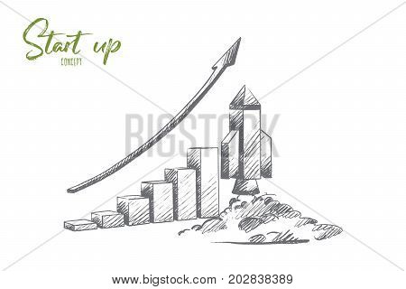 Start up concept. Hand drawn missile at launch. Rocket launch as a symbol of start up isolated vector illustration.