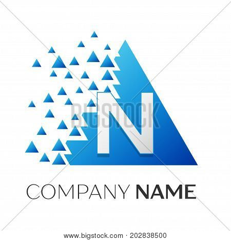Realistic letter N vector logo symbol in the colorful triangle with shattered blocks on white background. Vector template for your design