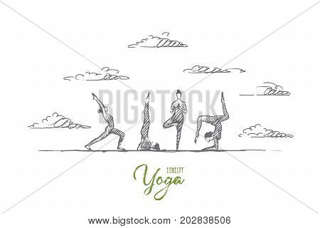 Yoga concept. Hand drawn yoga practice exercise class. People practicing yoga outdoors isolated vector illustration.