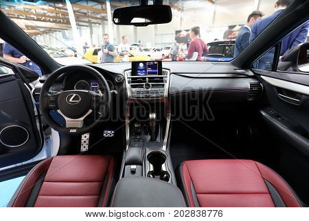 CRACOW POLAND - MAY 20 2017: Interior Design of Lexus displayed at MOTO SHOW in Cracow Poland. Exhibitors present most interesting aspects of the automotive industry