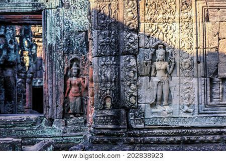 Bas Relief At Ancient Temple Near Siem Reap, Cambodia