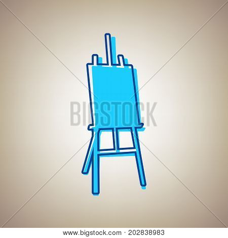 Easel sign. Vector. Sky blue icon with defected blue contour on beige background.