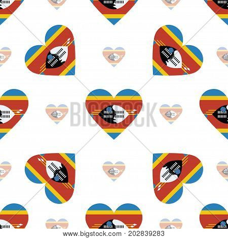 Swaziland Flag Patriotic Seamless Pattern. National Flag In The Shape Of Heart. Vector Illustration.