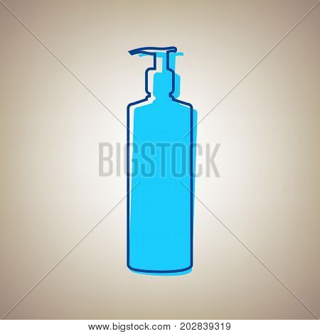 Gel, Foam Or Liquid Soap. Dispenser Pump Plastic Bottle silhouette. Vector. Sky blue icon with defected blue contour on beige background.