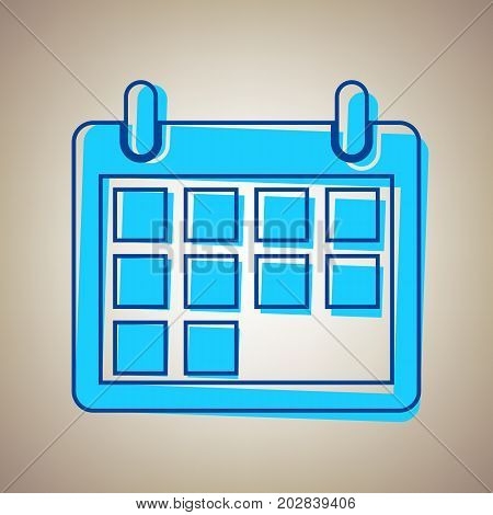 Calendar sign illustration. Vector. Sky blue icon with defected blue contour on beige background.